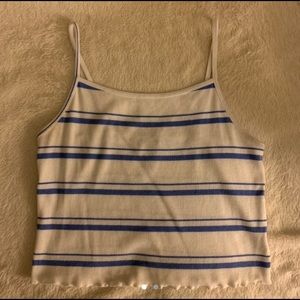 white and blue striped tank top ♡
